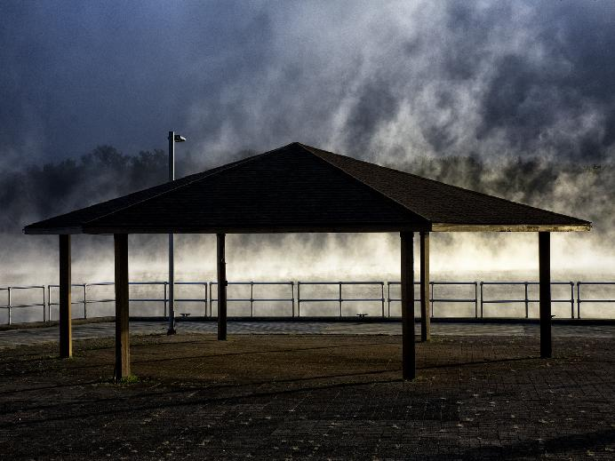 Harbor Park in Fog 5 by Eric Rennie