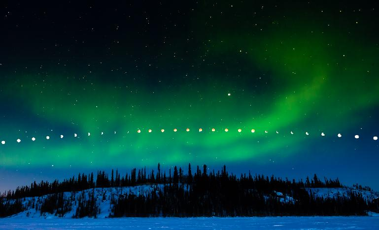 Lunar Eclipse and Aurora Borealis