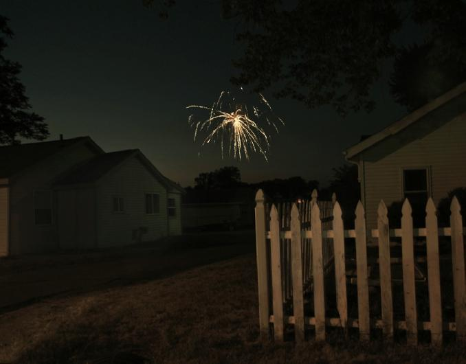 Fireworks and Fence  by robin vincent