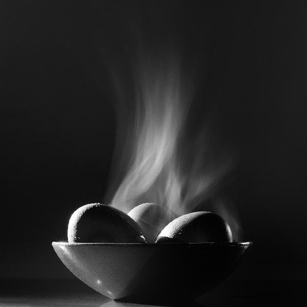 Three Steaming Eggs by Geoffrey Agrons